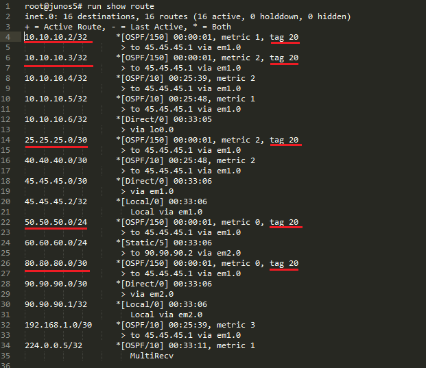 Junos5 Route Table