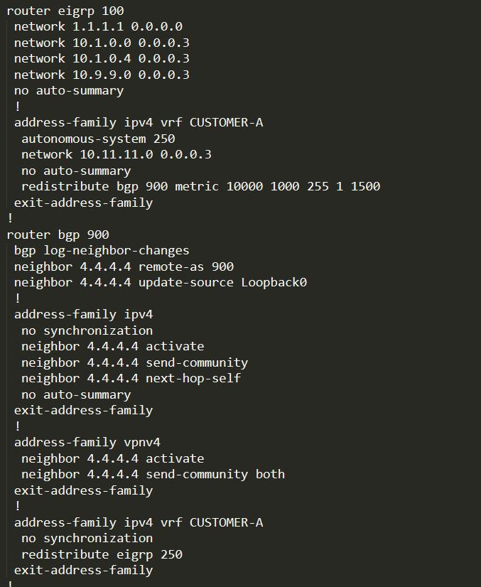 PE-1 EIGRP and BGP